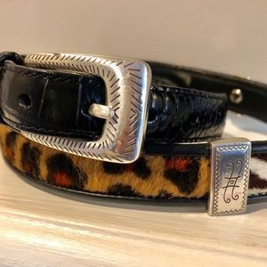 Brighton   Wild Animal Print Black Leather Belt